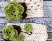 The Sofia Flower Beanie in Ecru, Taupe and Celery Green with Matching Diaper Cover Available in Newborn to 24 Months Size- MADE TO ORDER