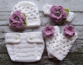Sophia Flower Beanie, Leg Warmers and Diaper Cover Set in White, Violet, and Celery Green Available in Newborn to 12 Months Size