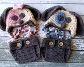 Little Mr. & Miss Puppy Beanies and Matching Diaper Covers For Twins in Caramel, Taupe, Pink and Blue In Four Sizes- MADE TO ORDER