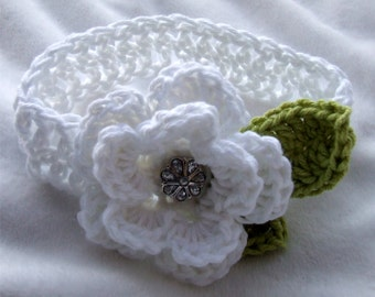 The Ava Flower Headband in White and Celery Available in Newborn to 4t- MADE TO ORDER