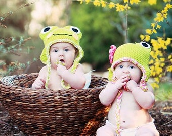 The Girl Frog Earflap Beanie in Lime Green, White, and Hot Pink Available in Newborn to Adult Sizes