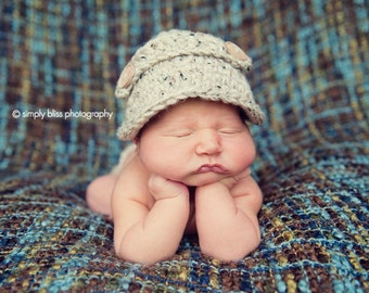 The Oliver Newsboy Cap/Visor Beanie/Baby Newsboy Hat in Oatmeal Available in Newborn to 4 Years- MADE TO ORDER