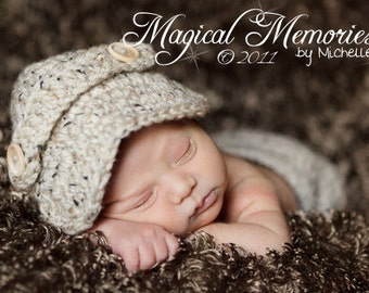 The Oliver Newsboy Cap/Visor Beanie/Baby Newsboy Hat in Oatmeal Available in Newborn to 4 Years Size- MADE TO ORDER