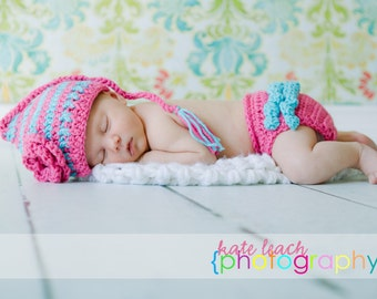 Pixie Beanie in Bright Pink and Aqua with Matching Ruffle Diaper Cover Available in Newborn to 12 Months- MADE TO ORDER