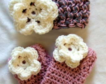 The Emma Beanie in Pink, Gray, and Ecru Available in Newborn to 12 Months Size With Matching Leg Warmers- MADE TO ORDER