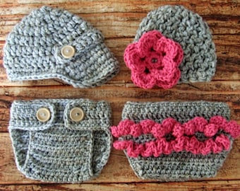 Twins Photography Prop Set in Gray and Hot Pink Available in Newborn to 12 Months- MADE TO ORDER