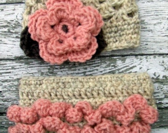 The Sofia Flower Beanie in Wheat, Baby Pink and Taupe with Matching Diaper Cover Available in Newborn to 24 Months Size- MADE TO ORDER
