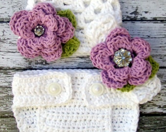 Sophia Flower Beanie and Diaper Cover set  in White, Violet, and Celery Green Available in Newborn to 24 Months Size- MADE TO ORDER