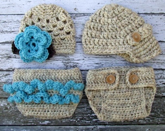 Twin Photography Prop Set in Wheat, Teal and Taupe Available in Newborn to 12 Months- MADE TO ORDER