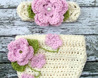 The Ava Flower Headband in Baby Pink , Ecru and Celery Green  with Matching Diaper Cover Available in Newborn to 24 Months Size