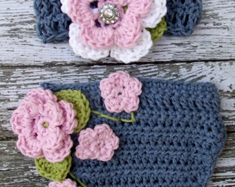 The Ava Flower Headband in Baby Pink, Denim, White and Celery Green with Matching Diaper Cover Available in Newborn to 24 Months Size