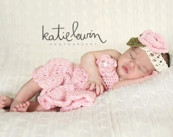 The Mia Dress in Baby Pink with Matching Headband-Available in Newborn to 12 Months Size- MADE TO ORDER
