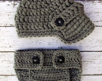 The Oliver Newsboy Cap in Dark Gray with Matching Diaper Cover Available in Newborn to 24 Months Size- MADE TO ORDER