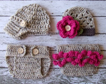 Twin Photography Prop Set in Oatmeal, Raspberry and Taupe Available in Newborn to 12 Months- MADE TO ORDER