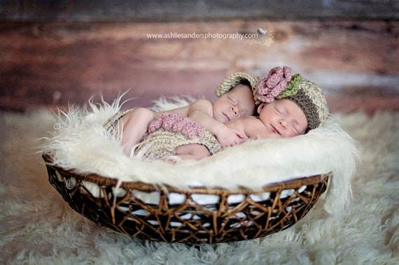 Twin Photography Prop Set in Oatmeal, Dusty Pink and Taupe Available in Newborn to 12 Months- MADE TO ORDER
