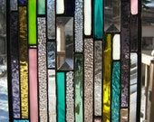 Stained glass skinny strips of color
