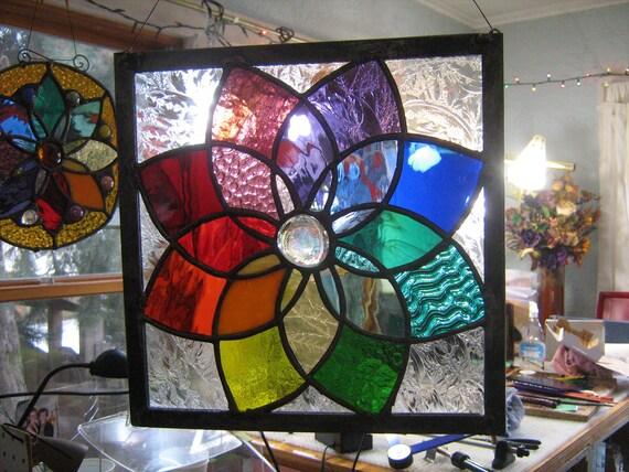 Suncatcher Stained glass color wheel medium size....WOWZA