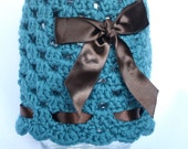 Crocheted Teal Granny Style hat Accented with Chocolate Brown Satin Ribbon, 2-4 months