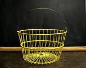 Vintage Wire Egg Gathering Basket Yellow