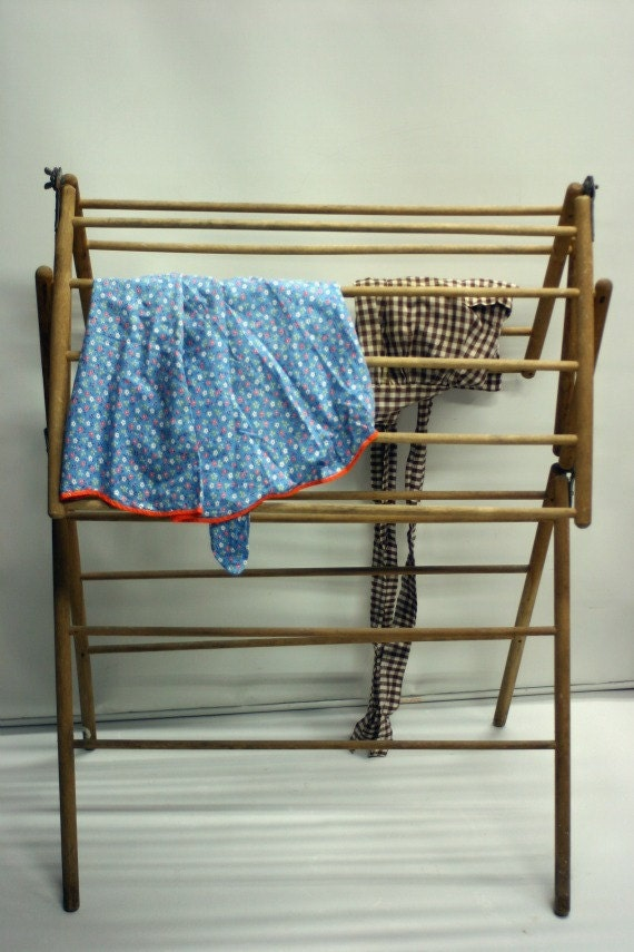 Vintage Primitive Wooden Laundry Drying Rack