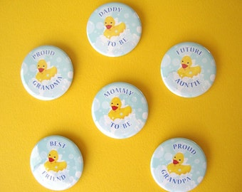 Rubber Ducky Baby Shower ID Buttons