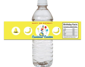 Curious George Inspired Water Bottle Label - DIY Printable File