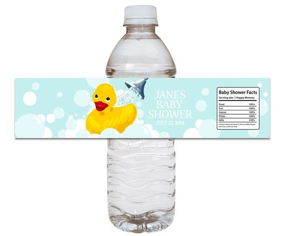 rubber ducky baby shower water bottle label by dizzydesignstudio