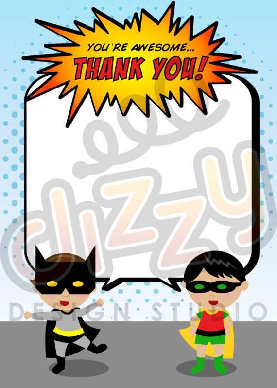 Super Hero Birthday Thank You Card - PRINTABLE DIY