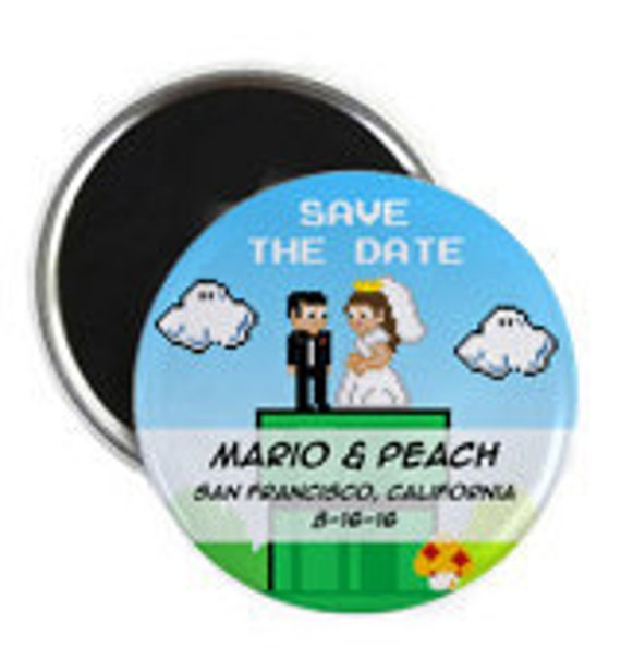 Old School Nintendo Inspired Wedding Save the Date Magnets