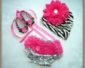 Baby Zebra/Hot Pink Ballerina Crib shoes, Bloomer and Beanie Hat Set 0-6 mo, 6-12mo, 12-2T Baby Shower Gift