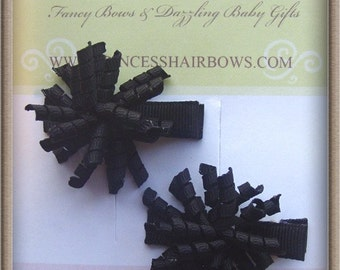 """Itty Bitty Korker Bow Clip Set of 2 """"Black Color great for little ones"""""""