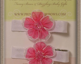 Double Layer Pink/White Organza Hair Clip Set of 2 (U-Pick color of ribbon clip)