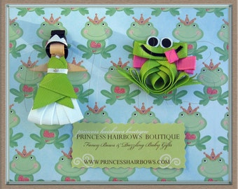 Princes Tiana and Frog Character Hair Clip Set