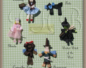 Wizard of Oz Character Hair Clips, Dorothy, Toto, Glinda, ... U Pick --