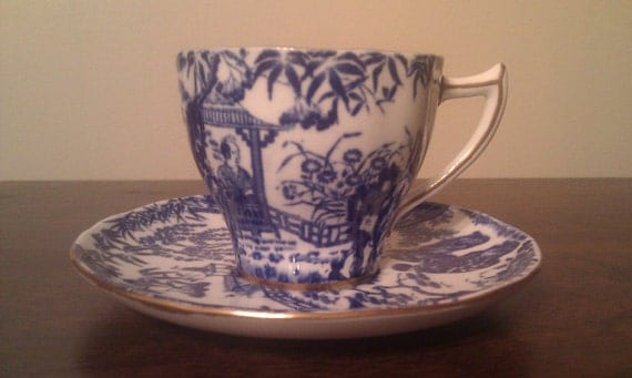 Royal Crown Derby Blue mikado Demitasse Cup and Saucer China Pattern Tea Service Coffee Espresso Server