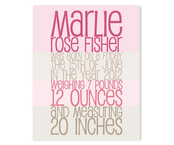 New Baby Gift Nursery Decor - Personalized Childs Art - Birth Announcement Poster (More Colors)