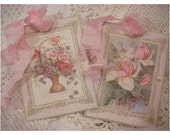 Vintage Flowers Shabby Gift Tags - SET OF 7
