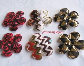 12 Retro Disco Shiny Print padded appliques embellishments Closeout Sale