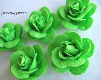 BIG Lovely 4D Felt Zesty Lime Rose appliques embellishments Big Fluffy Lime Felt Flowers - Buy Now store closing sale