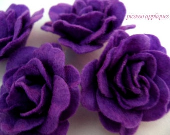 4D BIG Lovely Felt Purple Rose appliques embellishments
