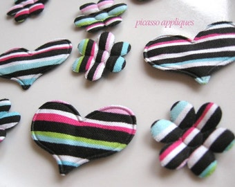 10 Hearts and Flowers Black Stripe padded appliques and more embellishments