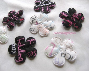 10 Black n White Script padded appliques embellishments and more