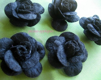 BIG 4D Lovely Felt Black Rose appliques embellishments Halloween Gothic Scary