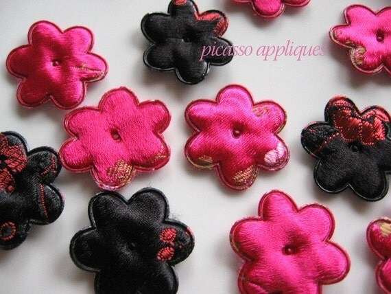 Vintage Embroidery Pink n Black Brocade padded appliques embellishments great for hair clips, beanies, kufis, angel wings, Closeout Sale!
