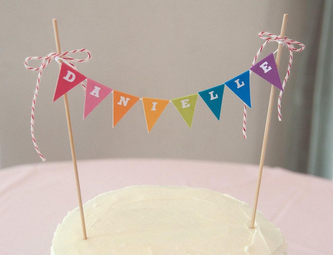 rainbow cake banner  garland  topper diy printable pdf