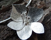 Contemporary Sterling Silver Flower Necklace