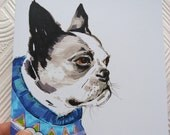 Nic The Boston Terrier - Boston terrier Illustration In Jumper - Boston terrier Portrait - Square Blank Greeting Card