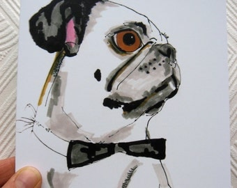 Grump No 1 Pug In Bowtie - Pug Illustration - Pug Portrait - Square Blank Greetings card