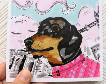 Sarge The Dachshund - Sausage Dog Portrait- Dachshund Illustration - Square Blank Greetings Card