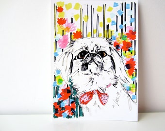 Peeko - Dog in Flowers -  Pekingnese Illustration - Pekingnese Portrait - Archival A4 Print from original illustration